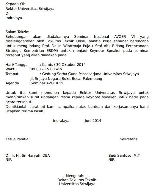 Contoh Permohonan Surat Pembicara Seminar Keynote Nasional Mahasiswa