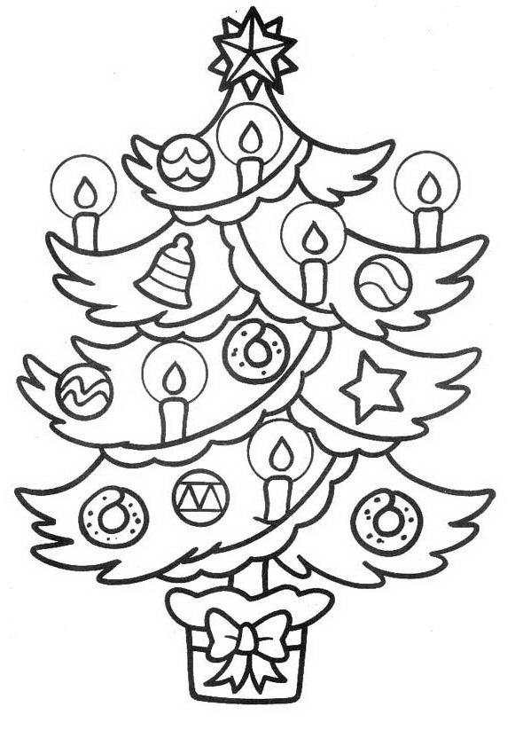 árbol Navideño Decorado Con Velas Para Colorear Y Pintar Dibujo Views