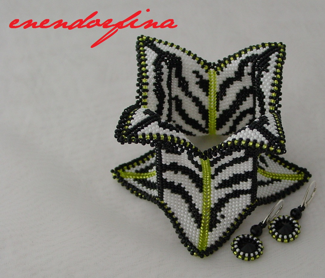 Contemporary Geometric Beadwork zebra