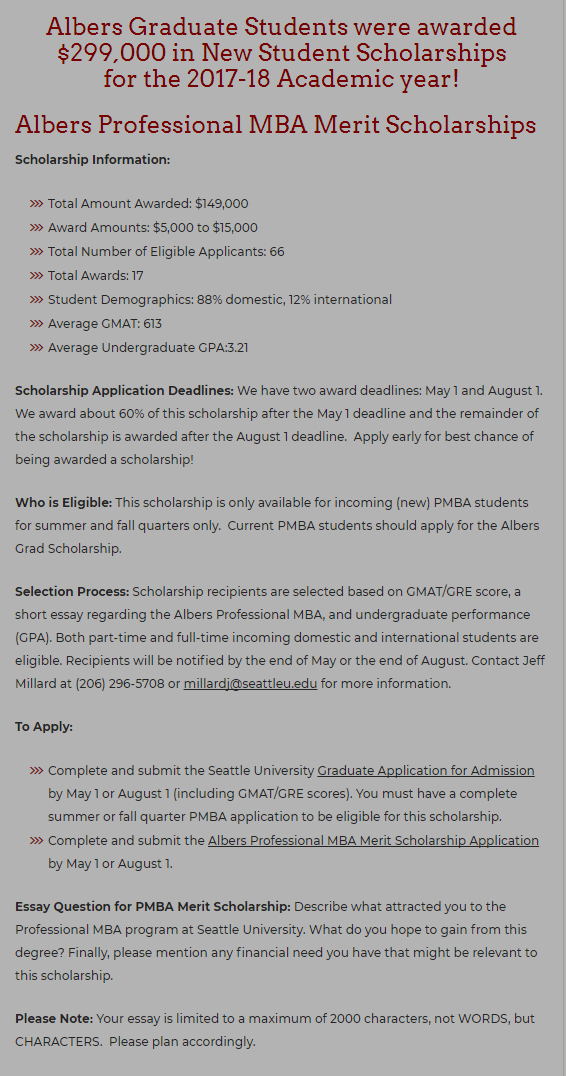 The Seattle University USA MBA Scholarship for Domestic International students