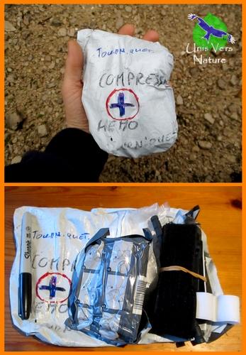 Kit de premiers secours, une compresse, un garrot et surtout une formation