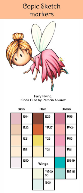 Copic color combination for a fairy. Kinda Cute by Patricia Alvarez.