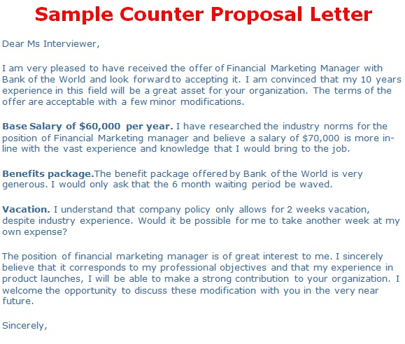 How to write a job offer counter proposal letter
