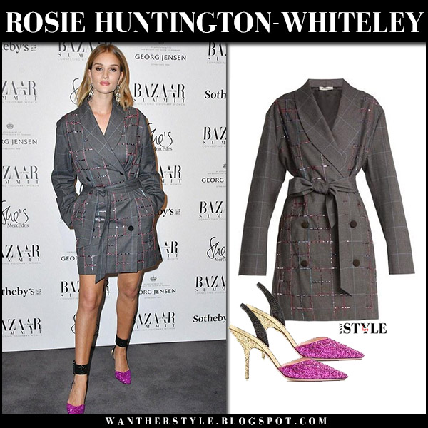 Rosie Huntington-Whiteley in grey checked belted jacket dress and pink pumps attico red carpet party fashion november 15 2017