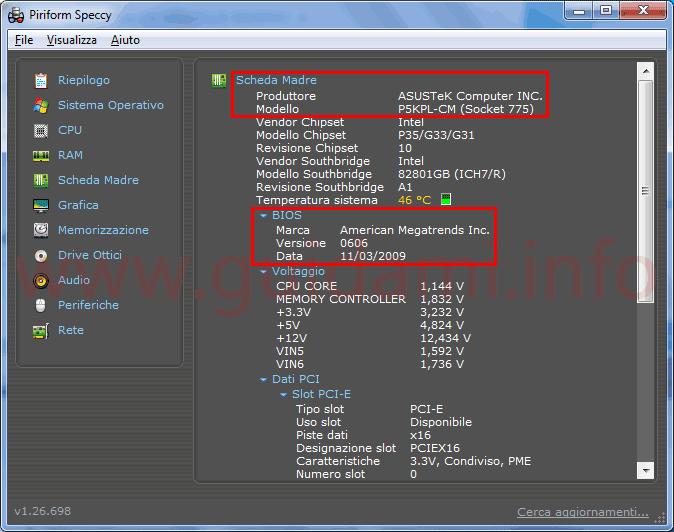 Speccy sezione info Scheda Madre del computer