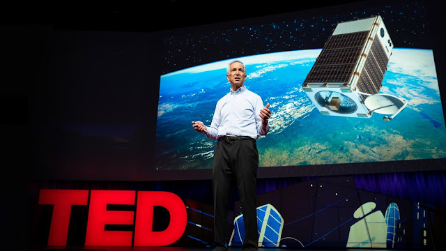 EDF President Fred Krupp introduces MethaneSAT during a TED Talk on April 11, 2018, in Vancouver, BC, Canada. Photo Credit: Bret Hartman / TED