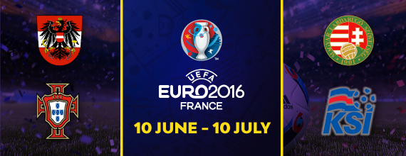 Hollywoodbets' Euro 2016 Group F Banner With Link To Group Betting Preview As Well As Austrai, Hungary, Iceland, And Portugal's Country Crests