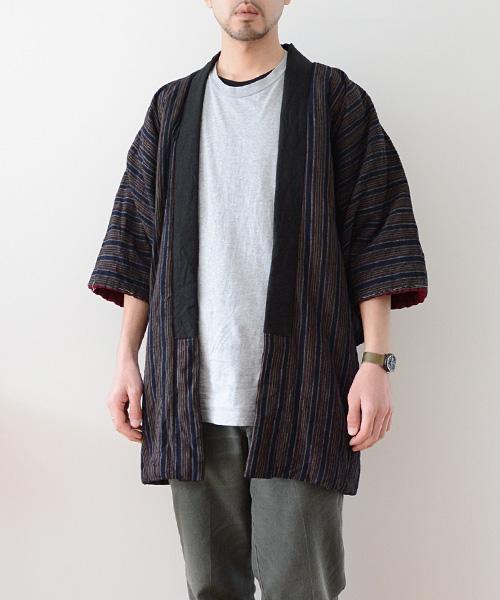 綿入れ半纏 FUNS 縞模様 抹茶 ジャパンヴィンテージ アンティーク着物 Hanten Jacket Japanese Vintage Stripe Matcha Crazy Antique Kimono