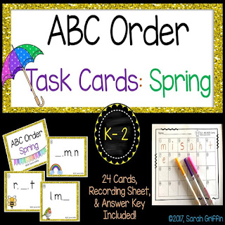 https://www.teacherspayteachers.com/Product/ABC-Order-Spring-Task-Cards-SCOOT-Write-the-Room-3071100