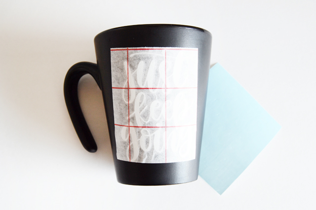 attach decal to mug