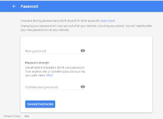 Halaman untuk memasukan password baru Google