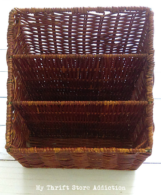 thrifted wicker mail sorters