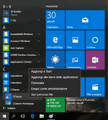 Menu Start Windows 10 tutti i programmi e app