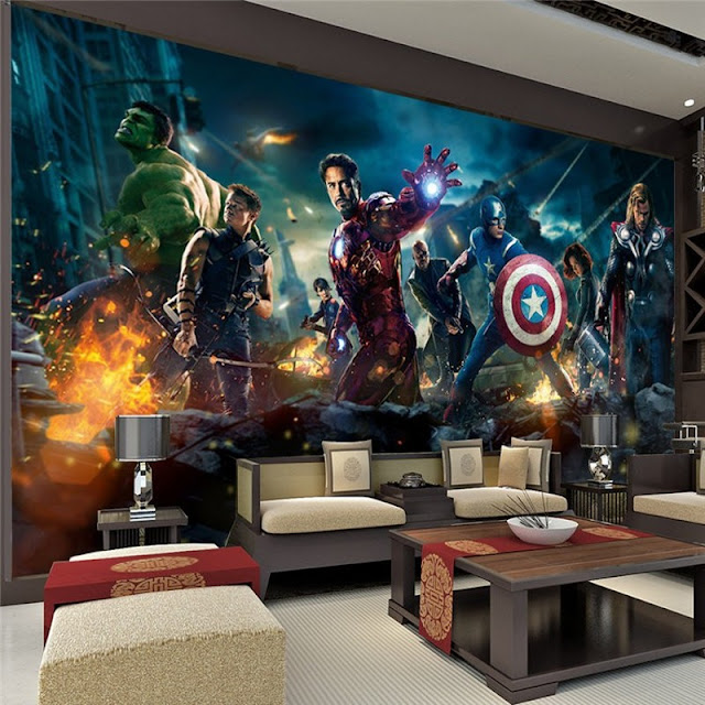 Avengers wall mural childrens room 3D marvel comics Photo Wallpaper Kids Boys super hero tony stark movie