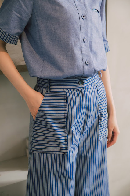 藍河星月長腿直條紋寬寬褲