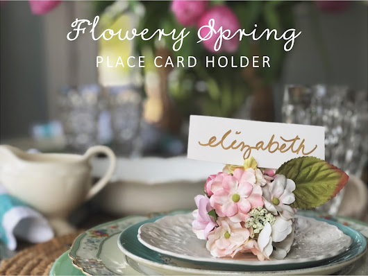 DIY flowery spring place card holder as seen in Food Network Magazine April 2018