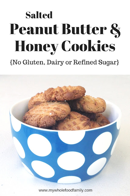 Salted Peanut Butter and Honey Cookies - gluten-free, dairy-free, no refined sugar - from www.mywholefoodfamily.com
