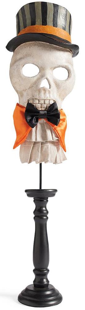 Grandin Road Halloween Skull Mask on Pedestal