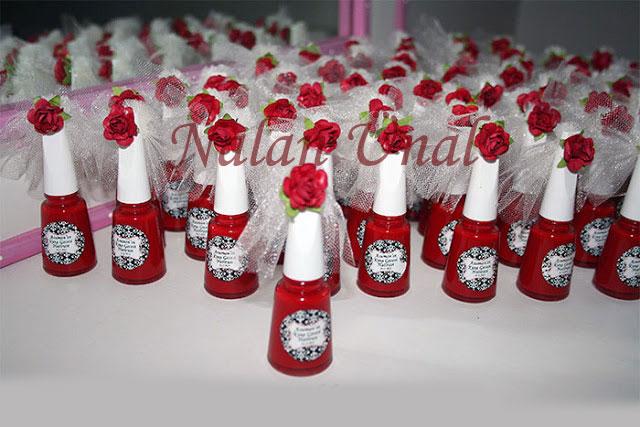 nikah şekeri-nikah hediyeliği-etiketli kırmızı oje