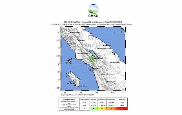 Gempa Tektonik Guncang Dolok Sanggul dan Samosir