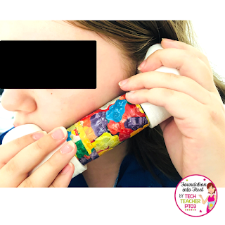 How to make Whisper Phones. Teaching reading to early years students. Primary school students reading centers/centres.