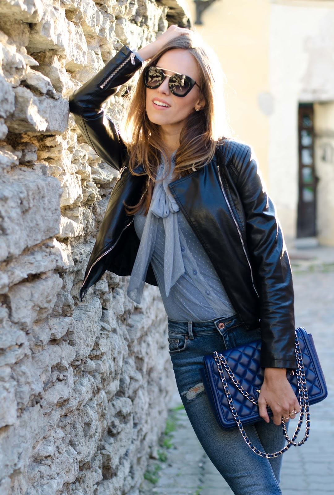 leather jacket sheer blouse summer outfit