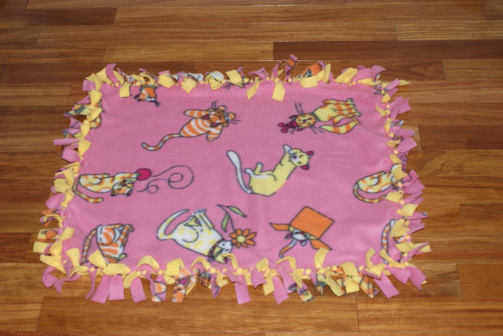 Percy S Place Blankets Pink And Yellow Cat Blanket