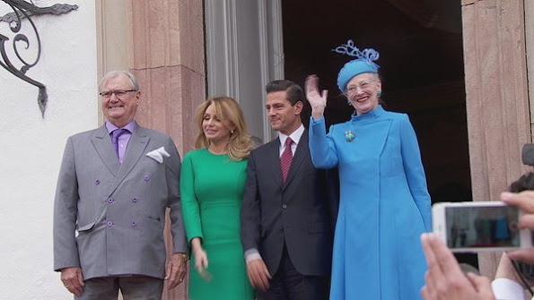 Queen Margrethe of Denmark and her husband Prince Consort Henrik, Crown Prince Frederik, Crown Princess Mary, Prince Joachim, Princess Marie and Princess Benedict