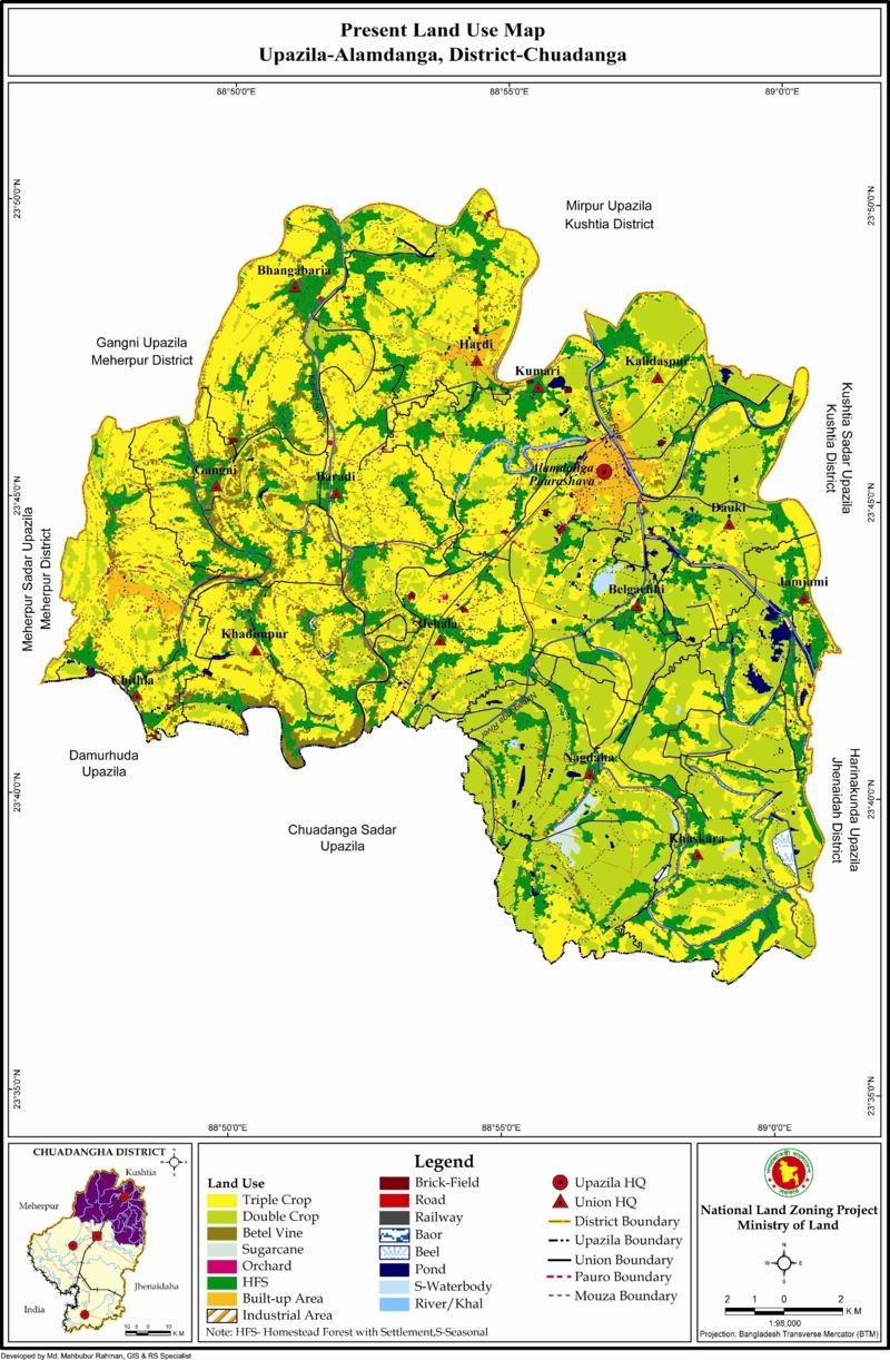 Alamdanga Upazila Land Use Mouza Map Chuadanga District Bangladesh