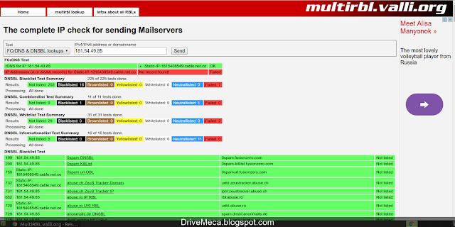 DriveMeca verificando si una ip publica esta reportada por spam