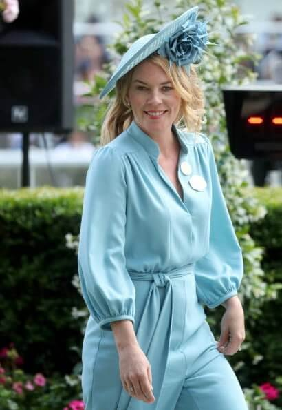 Autumn Phillips wore Claire Mischevani crepe jumpsuit. Autumn Phillips wore a crepe jumpsuit by Claire Mischevani