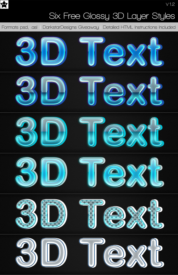 Glossy 3D Text Styles