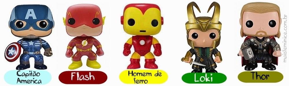Funkos marvel - capitão amareica, Flash, Home de Ferro, Loki e Thor