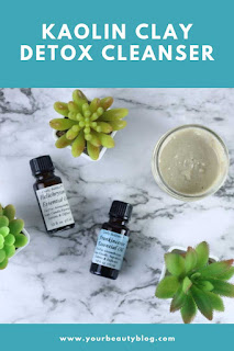 This homemade face cleanser uses kaolin clay and carrier oils to gently cleanse your face. It's a gentle face cleanser that can remove makeup, dirt, and oil. This is an easy face cleanser diy recipe.  Use essential oils for face skincare.  Make homemade facial cleanser for sensitive skin.  How to make a natural face cleanser homemade. This diy face cleanser has frankincense and helichrysum to tone and tighten skin.  Diy face cleanser with kaolin clay. #diy #diybeauty #naturalbeauty