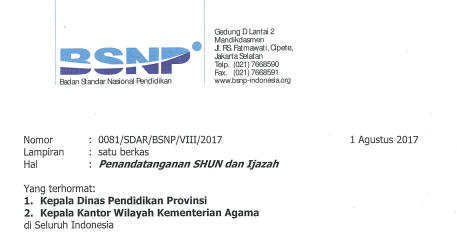 Surat Edaran BSNP No 0081/SDAR/BSNP/VIII/2017 Tentang Penandatanganan Ijazah dan SHUN