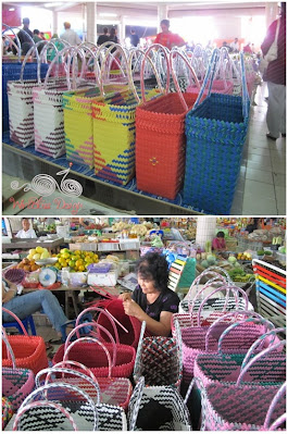 Handcrafted colorful baskets from colorful binders or packing straps
