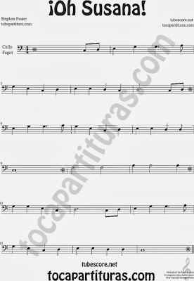 ¡Oh Susana! Partitura de Chelo y Fagot Sheet Music for Cello Basoonn