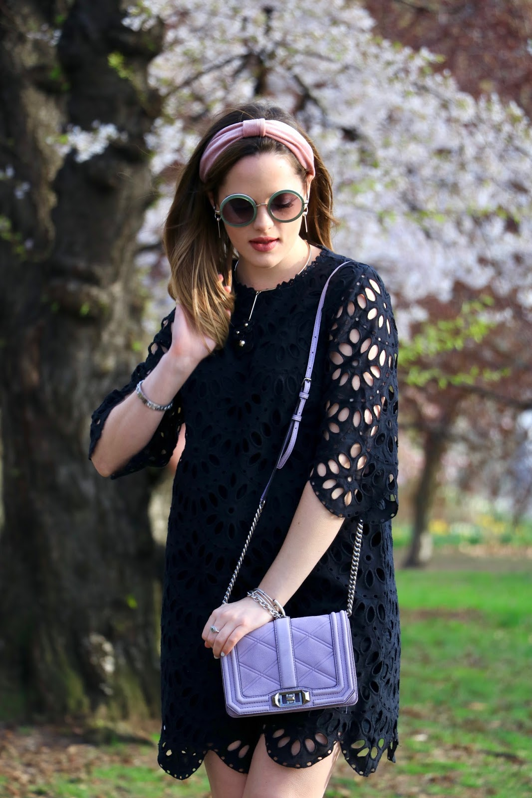 Nyc fashion blogger Kathleen Harper wearing a black lace spring dress