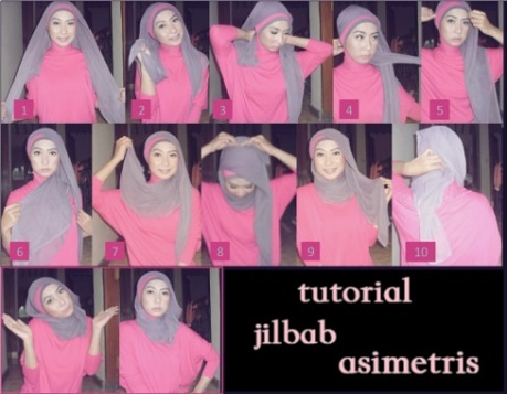 tutorial hijab segi empat simple style 4