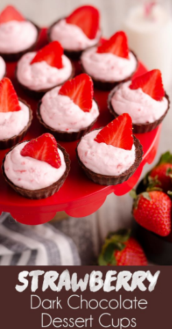 Strawberry Dark Chocolate Mini Dessert Cups