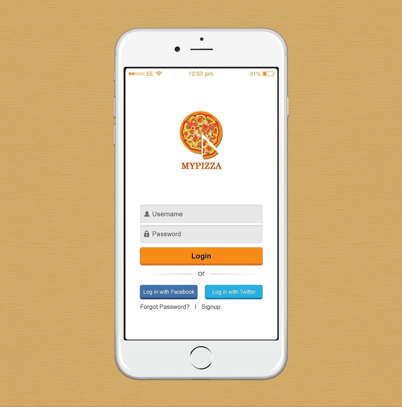 Pizza App Login UI Designs