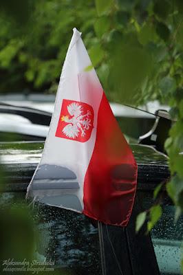 Euro 2016 - Polska reprezentacja, piłka nożna - kibice, flagi na samochodach