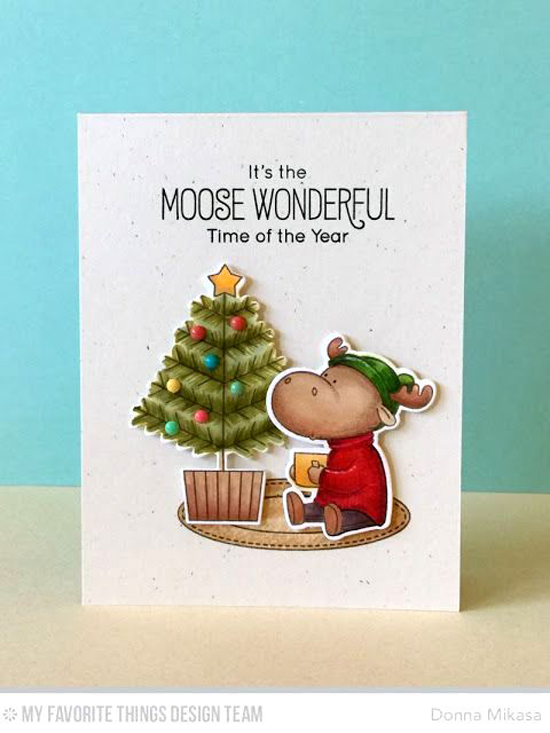 Handmade card from Donna Mikasa featuring the Birdie Brown Merry Christmoose stamp set and Die-namics #mftstamps