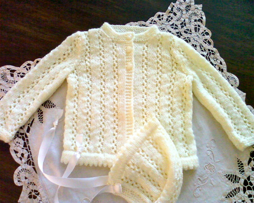 Lace Baby Sweater with Bonnet - Free Pattern