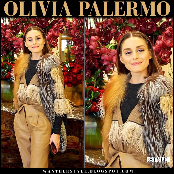 Olivia Palermo in fur gilet and beige feather trimmed cardigan brunello cucinelli fashion week style february 2018