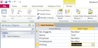 cara mengisi field name dan data type ms access 2010