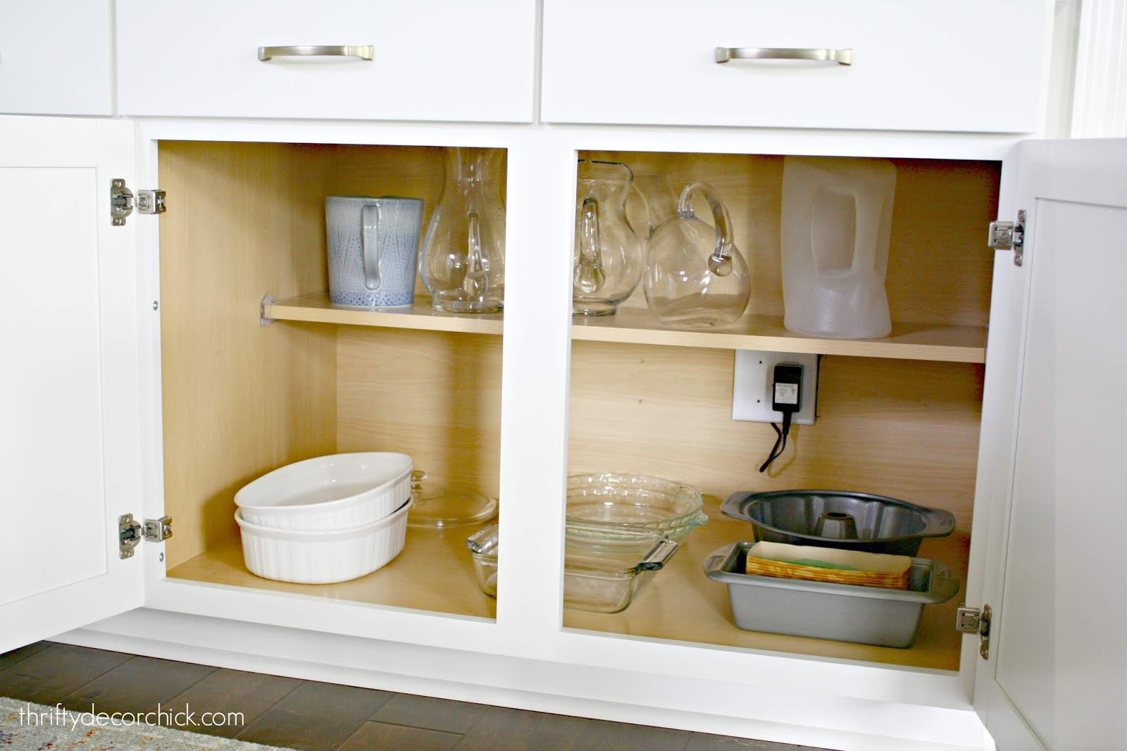 Decluttered and organized lower cabinets