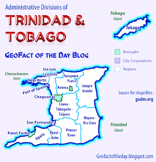 Regions of Trinidad and Tobago — map also includes city corporations and boroughs