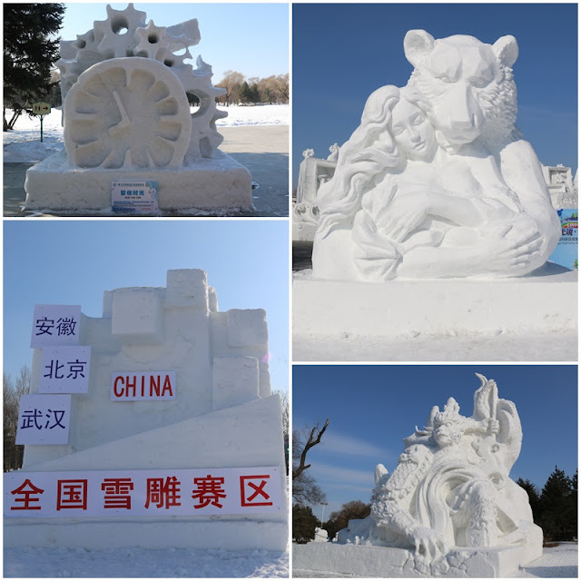 Some Snow Sculpture designs display at Harbin Snow Sculpture Art Expo in China