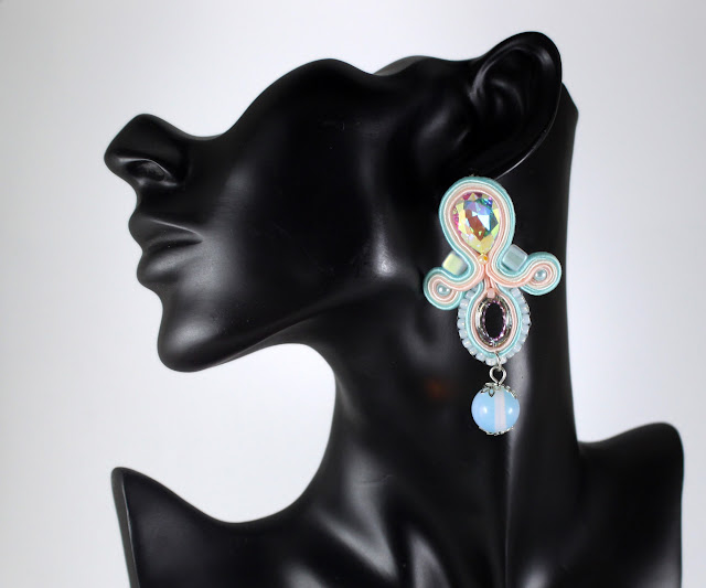 Pastels Soutache earrings,very elegant for wedding. Dangle Opals.